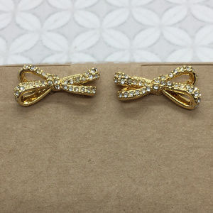 Kate spade tied up pave bow earrings gold